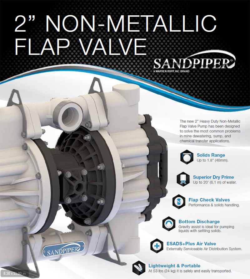 "Sandpiper 2"" non metallic flap valve"